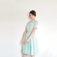 pastel mint green 1950 shirtwaist . needlepoint gingham summer dress .small.medium