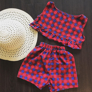 Vintage toddler two piece set - girls outfit - shorts - crop top - vintage kids clothes - 1960's - romper - playsuit - girls clothes