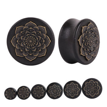 Pair Black Natural Wood Mandala Flower Ear Plugs Tunnels Ear Expanders Earring Gauges Piercing Plug Ears Body Jewelry
