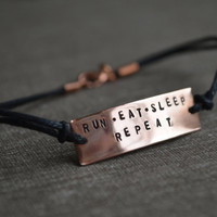 Stamped Copper Runner Bracelet - Run Eat Sleep Repeat - Personalize - Customize