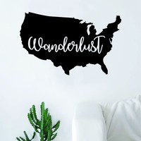 Wanderlust USA America Quote Decal Sticker Wall Vinyl Art Wall Room Decor Inspirational Travel Adventure Explore