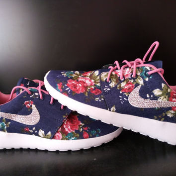 custom nike roshe run women sneakers blue jeans color fabric with printed roses athletic shoes blinged with swarovski rhinestones