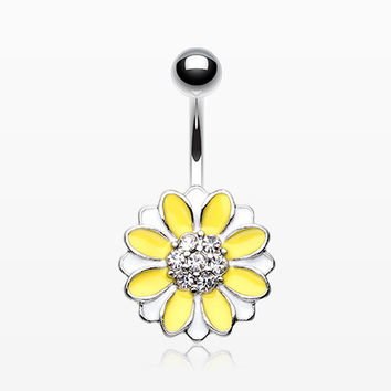 Adorable Daisy Sparkle Belly Button Ring