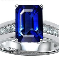 Star K Classic Octagon Emerald Cut 9x7 Engagement Ring Created Blue Sapphire