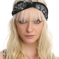 LOVEsick Black And White Sugar Skull Twist Stretchy Headband