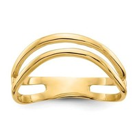 14K Yellow Gold Double Wave Curved Thumb Ring