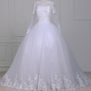 Long Sleeves Wedding Dress Beaded Lace Applique Bridal Gowns Zipper Back