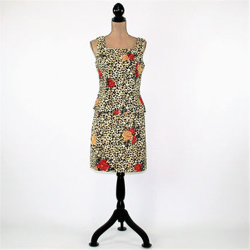 Roses Floral Animal Print Dress Sleeveless Top and Skirt Set Midi Cheetah Print Dress Size 8 Vintage Clothing Womens Clothing
