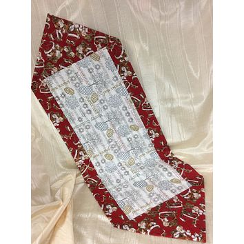 Silver and Gold Merry Christmas Reversible Table Runner