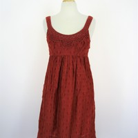 BCBG Maz Azria Crochet & Cotton Silk Lined Empire Waist Dress S
