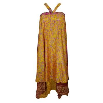 Mogul Indian Silk Sari Wrap Around Skirt Two Layer Reversible Printed Yellow Pink Beach Cover Up Magic Skirts - Walmart.com