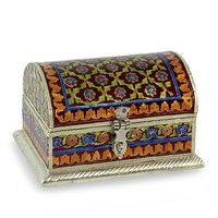 Meenakari jewelry box - Mughal Treasure | NOVICA