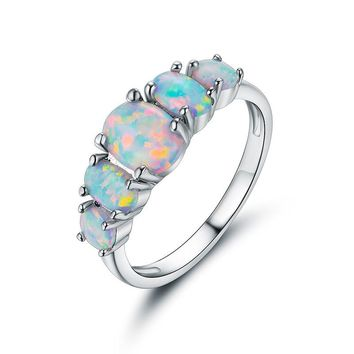 Fashion White Opal Ring CZ Wedding Jewelry Silver Color Engagement Promise Ring for Women anillos ZK80