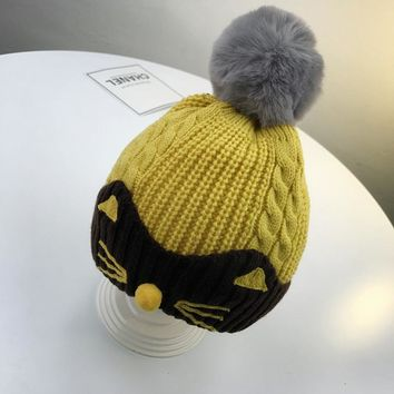 cartoon cat lovely with fur ball acrylic knitted kids beanies thicken warm with fleece soft girls boys hat outdoor cap winter