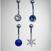 CZ and Snowflake Belly Ring 4 Pack - 14 Gauge - Spencer's