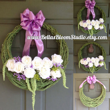 Spring Wreath - Door Wreath - Wreath - Easter Wreath - Multi Color Wreath EASTER basket wreath Front Door Wreath Spring Basket Easter etsy