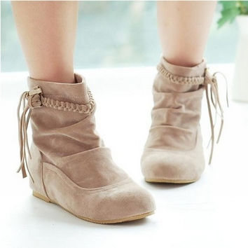 Womens Suede-Leather Fringes Ankle Boots = 1945789700