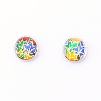 Maple leaf earrings, Japanese washi ear stud, resin, washi Chiyogami jewelry, Google colors, hypoallergenic surgical steel