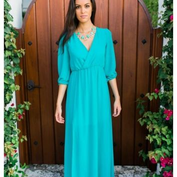 Molly- Jade 3/4 sleeve vneck maxi dress with slit