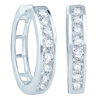 Round Diamond Ladies Fashion Hoops Earrings in 14k White Gold 0.5 ctw