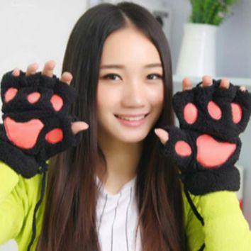 2017 Winter Women Paw Gloves Fingerless Fluffy Bear Cat Plush Paw Gloves/Mitten Warm Ladies Half Covere Half Finger Gloves Luva