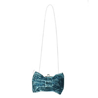 From LA with Love Womens Sequined Bow Front Clutch Handbag - Small / Blue