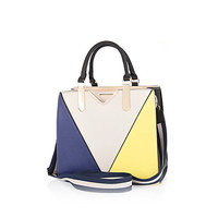 River Island Womens Blue and yellow color block tote bag