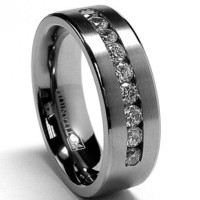 8 MM Men's Titanium ring wedding band with 9 large Channel Set CZ sizes 7 to 15