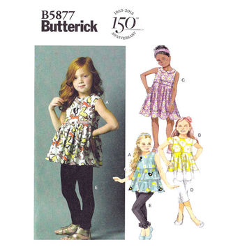 Butterick B5877 Children's/Girls' Dress, Tops, Belt and Leggings, Sizes 6-7-8, Sewing Pattern, New, Uncut, Factory Folds