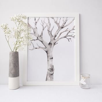 Watercolor Winter Birch Tree Art Print