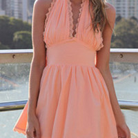 Peach Pink Halter Mini Dress