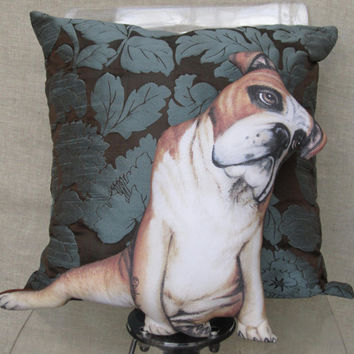 Bulldog Pillow, Decorative Throw Pillow, Cushion, Pet lovers, Dog Art Pillow, Handmade Dog Shaped Pillows,