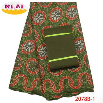 2018 Latest African Cotton Lace Fabric With Aso Oke High Quality Swiss Voile Lace Fabric For Nigerian Party Dress NA2078B-1
