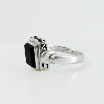 Reversible Ring - Black Onyx Sterling Filigree Ring Size 7 - Two Sided Block Ring - Square Onyx Sterling Ring