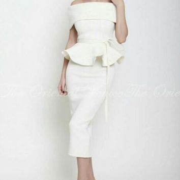 2017 Vintage Tea Lenth Midi Mermaid Evening Dress with Peplum Robe De Soiree Cheap White Arabic Short Prom Dresses Party Gowns