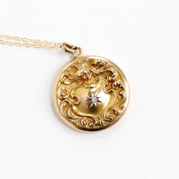 Antique 10k Solid Rose Gold Knight in Armor Diamond Locket Necklace - Late 1800s Art Nouveau Shield Crown Victorian Monogrammed Fine Jewelry
