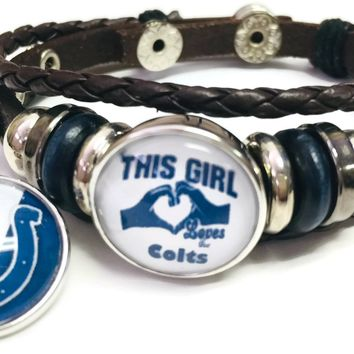 NFL Cool Blue Horseshoe & Girl Loves The Indianapolis Colts Bracelet Brown Leather Football Fan W/2 18MM - 20MM Snap Charms New Item