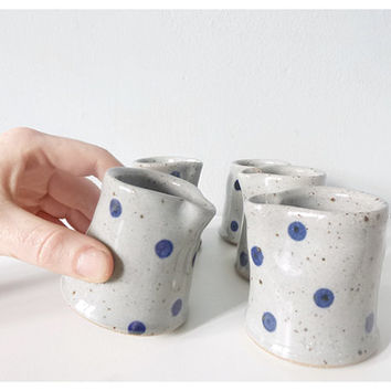 Creamer set grey blue polka dots - modern ceramic pottery gray cobalt