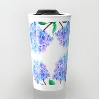 blue purple hydrangea Travel Mug by Color And Color