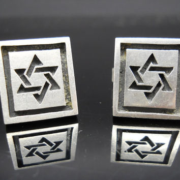 Star Of David, Sterling Silver, Toggle Cufflinks, Fenwick Sailors, Star Cufflinks, 925 Cufflinks, Sterling Cufflinks, 925 Cuff Links