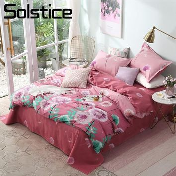 Cool Solstice Home Textile Dandelion Pink Duvet Quilt Cover Pillowcase Bed Sheet Girl Kid Teen Bedding Sets Queen Twin King Bed LinenAT_93_12