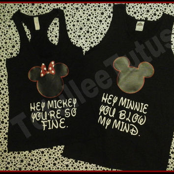 Hey Mickey Hey Minnie Disney Inspired Tanks or Tshirts, Disney Inspired Couples Tshirts