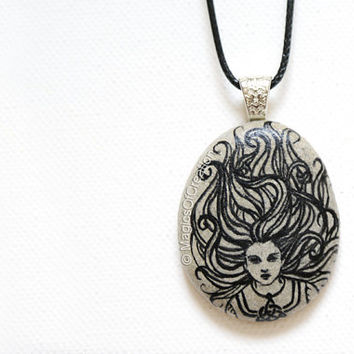 Celtic girl original art pendant, original painting on river stone, OOAK pebble art and unique artistic jewelry