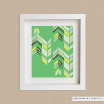 Art Print 11x14 - Chevron Green