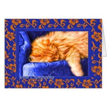 Pet Sympathy - Orange Tabby Cat with Blue Card
