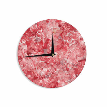 "Ebi Emporium""Bloom On! Red White "" Pink Abstract Wall Clock"
