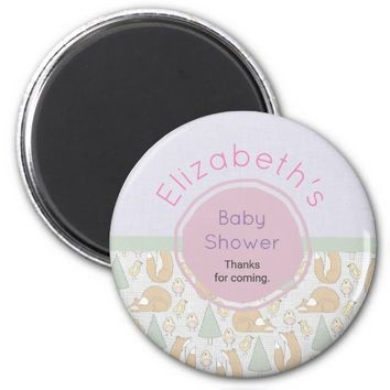 Cute Woodland Creatures Baby Shower Thank You 2 Inch Round Magnet