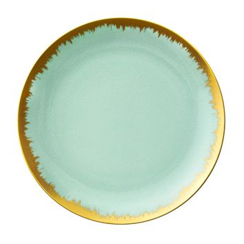 AURA DINNERWARE IN SEA GLASS WITH GOLD BRUSHSTROKE