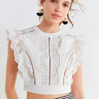 ASTR The Label Connie Lace Cropped Top | Urban Outfitters