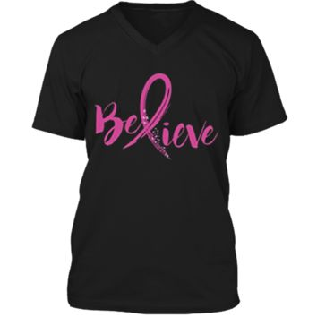 Believe - Women Breast Cancer Awareness Fight T-Shirt Mens Printed V-Neck T